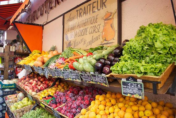 Groentekraam-Corsica-markt