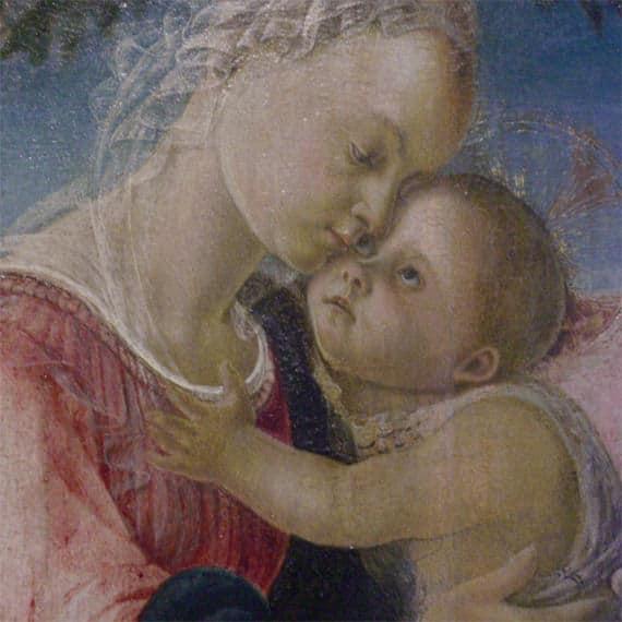 Schilderij-La-vierge-et-l-enfant-soutenu-par-un-ange-Sandro-Botticelli